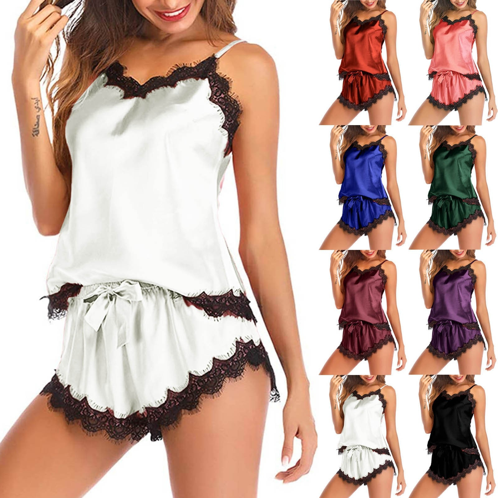 Women comfortable pajamas Sleepwear Sleeveless Strap Nightwear Lace Trim Satin Cami Top Pajama Sets Пижамный комплект