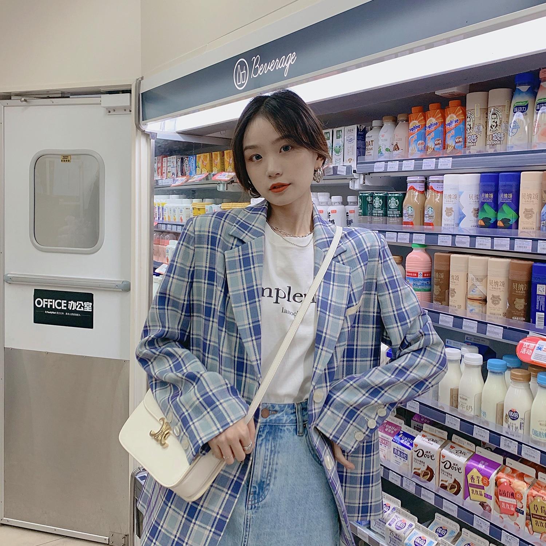 Women's Suits Oxford Girls Plaid Suit Coat Women's Autumn 2021 Design Casual Suit