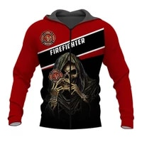 new fashion sweatshirt firefighter skull 3d all over printed hoodie unisex casual zip hoodies mz608