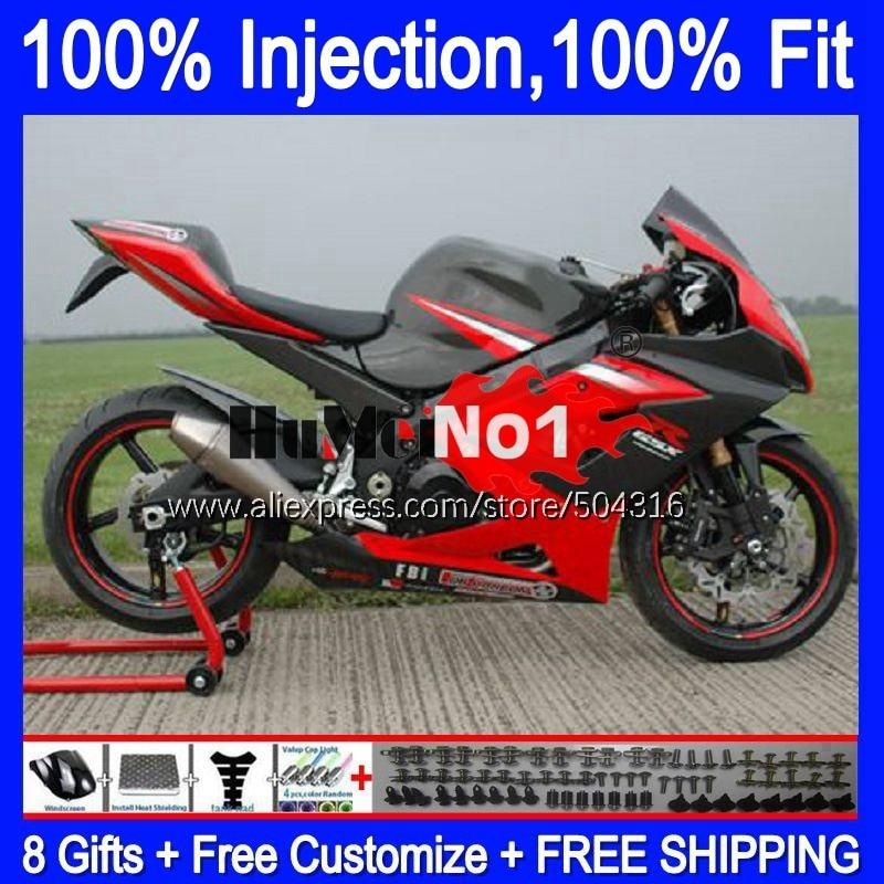 حقن لسوزوكي GSX R1000 GSXR-1000 2005 2006 أحمر أسود 21MC.116 GSX-R1000 GSXR 1000 1000CC 05 K5 GSXR1000 05 06 هدية