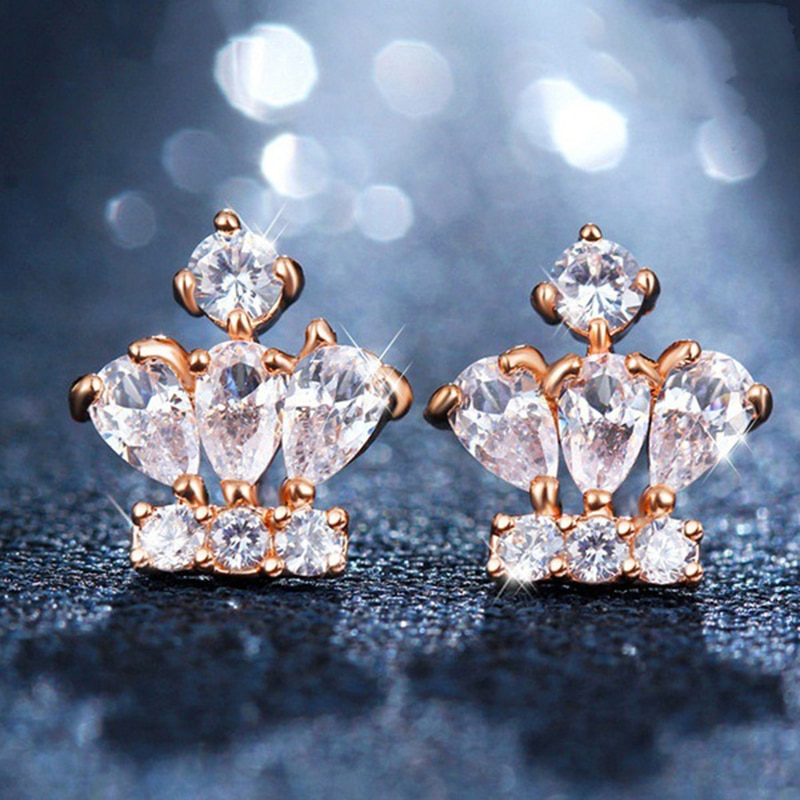 14K Rose Gold S925 Silver Crown Earrings for Women Luxury Mosaic Diamond Creative High Quality Jewelry Korean Version Exquisite