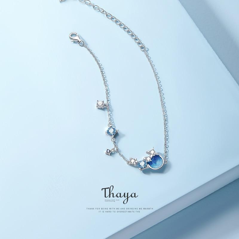 Thaya Original Design S925 Silver Nebule Bracelet Ladies Twelve Constellations Drop Oil Fashion Women Link Bracelet Fine Jewelry