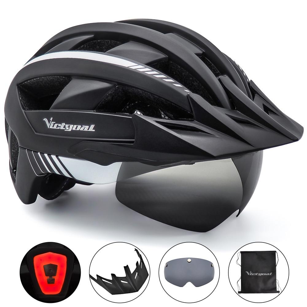 Victorigoal MTB casco de bicicleta de montaña carretera USB recargable de fondo casco de ciclismo visera polarizada gafas de luz cascos de bicicleta