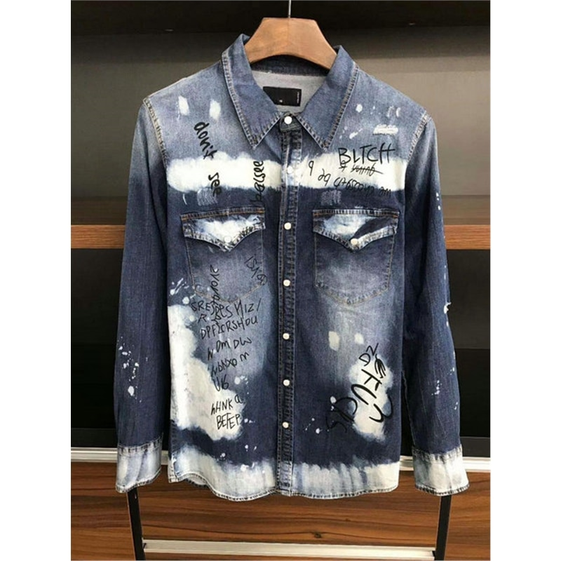 Top clothes Camisa Masculina 2020 Spring Mens Shirt Casual Slim Fit JEAN Hip Hop Ripped Jeans Shirts Man Long Sleeve Denim shirt