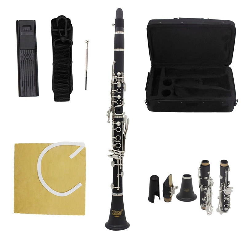 ELOS-IRIN abs 17 chave clarinete bb plana soprano binocular clarinete com pano de limpeza luvas chave de fenda caso reed woodwind instr