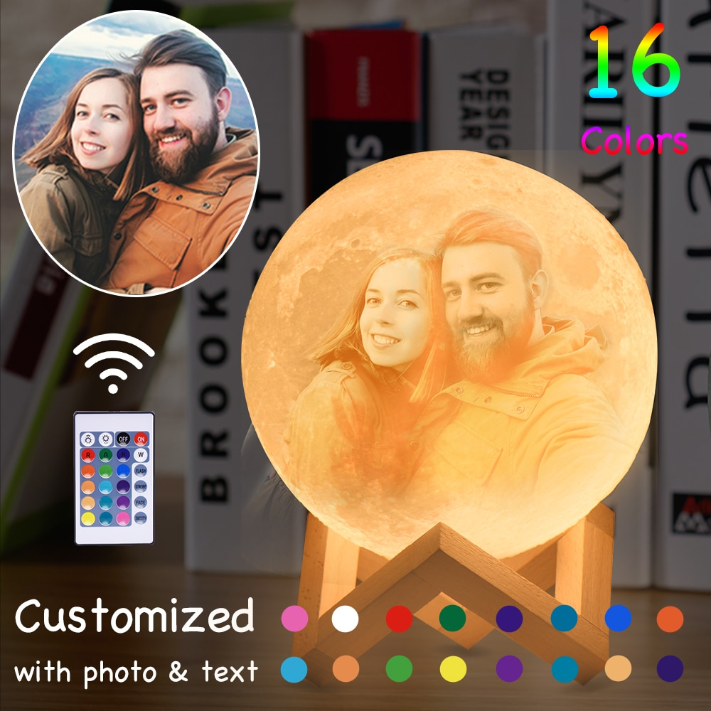 مصباح على شكل قمر قابل لإعادة الشحن مع صورة/نص مخصص ، طباعة USB ثلاثية الأبعاد ، 16 لونًا ، هدية عيد الميلاد والكريسماس ، التوصيل المباشر