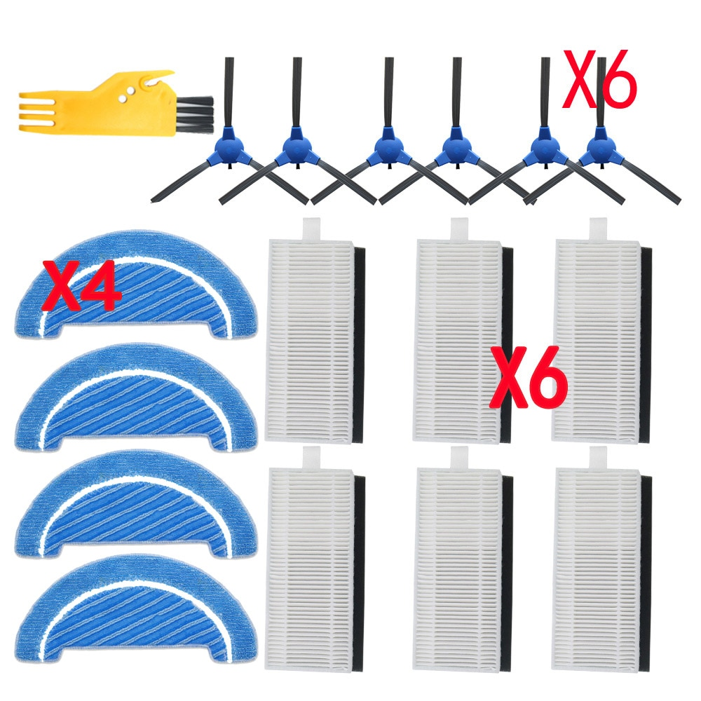 5pcs robot hepa filter replacement for fmart e r302g s e r550w s yz q1 yz q2 fm r150 robot vacuum cleaner parts brush filters robot side brush hepa filter mop cloth For Cecotec Conga Excellence 1090 robot vacuum cleaner parts accessories replacement kit
