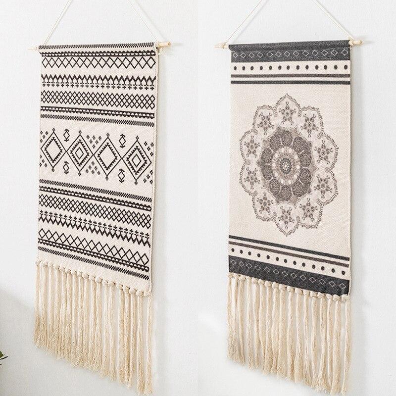 Tapiz decorativo indio de tela de lino de algodón tapiz colgante de pared con borla Boho geométrico tela tapices decoración de la pared