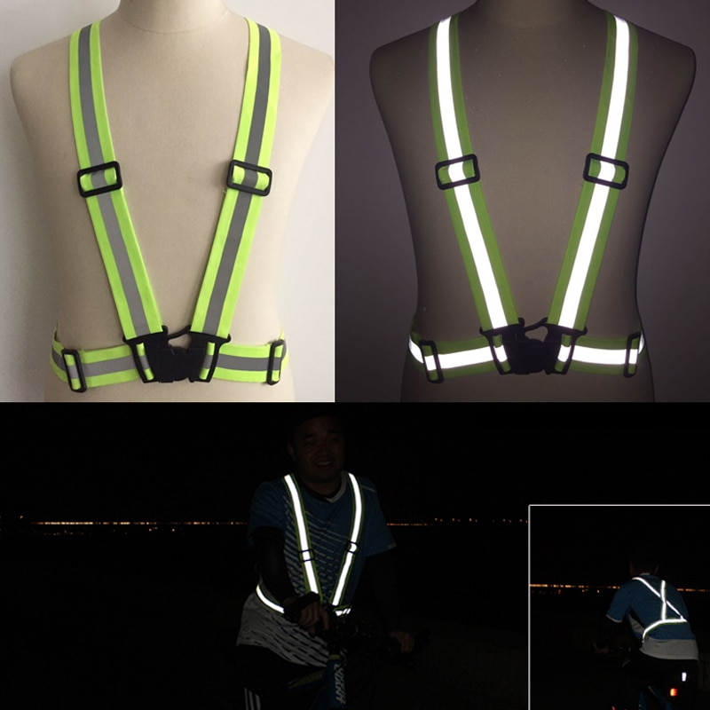 Reflective Straps Night Running Riding Clothing Vest Adjustable Safety Vest Elastic Band For Adults and Children outdoor cap reflective baseball hat night running and riding safety