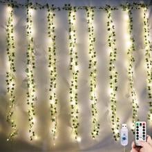 3*2 متر LED اللبلاب جارلاند ضوء الستار لغرفة المعيشة الجنية أضواء التحكم عن بعد USB ضوء الستار عيد الميلاد الزفاف الديكور
