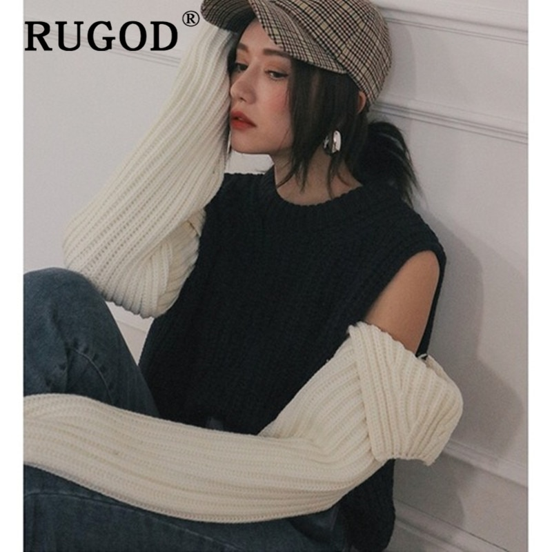 RUGOD jersey de coreana chic cuello redondo dividido manga larga suéteres mujer Vintage auturm cálido casual tejido