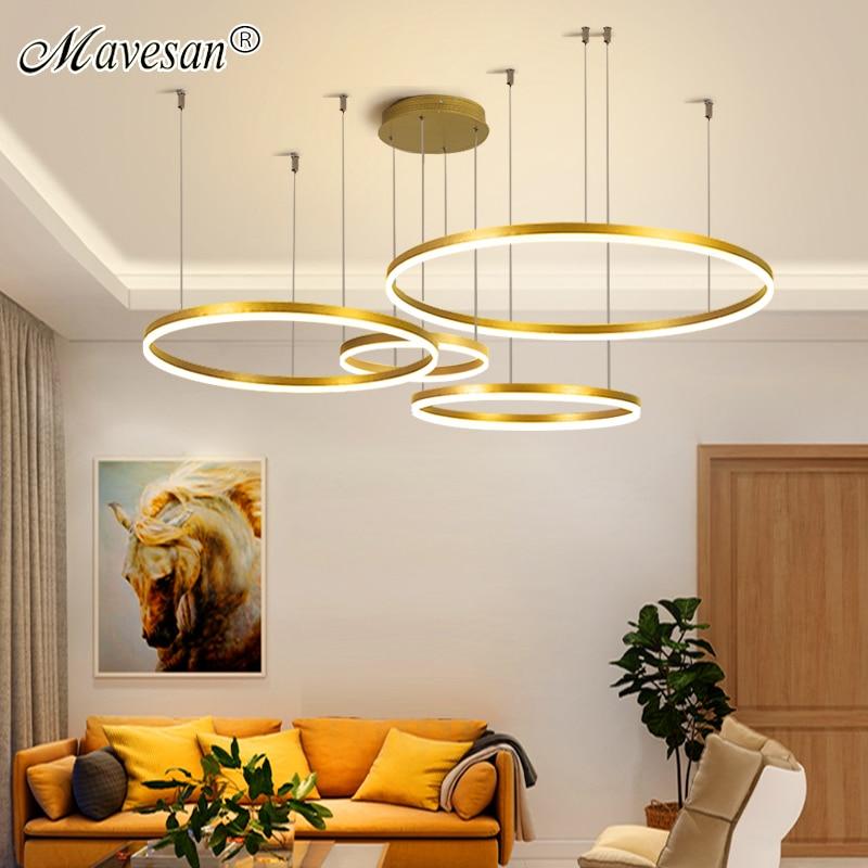مصباح معلق بحلقات دائرية ، تصميم داخلي ، إضاءة داخلية زخرفية ، مثالي لغرفة الطعام أو غرفة النوم أو الفيلا أو الشقة أو المطعم.