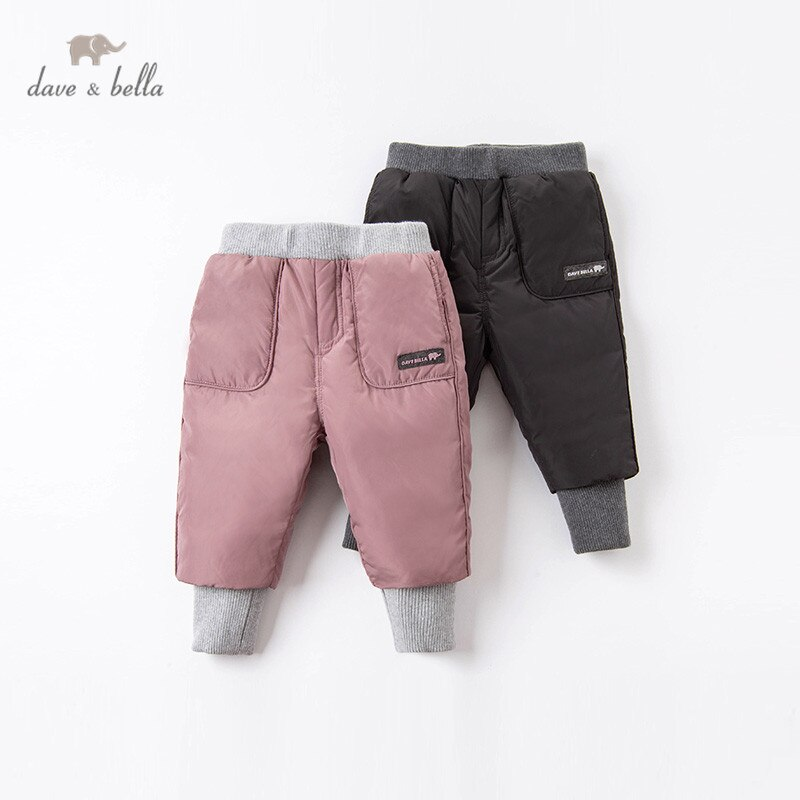 DBX15740 dave bella سروال شتوي للجنسين ، ملابس أطفال ، ملابس أطفال مبطنة بجيوب حروف ، جودة عالية