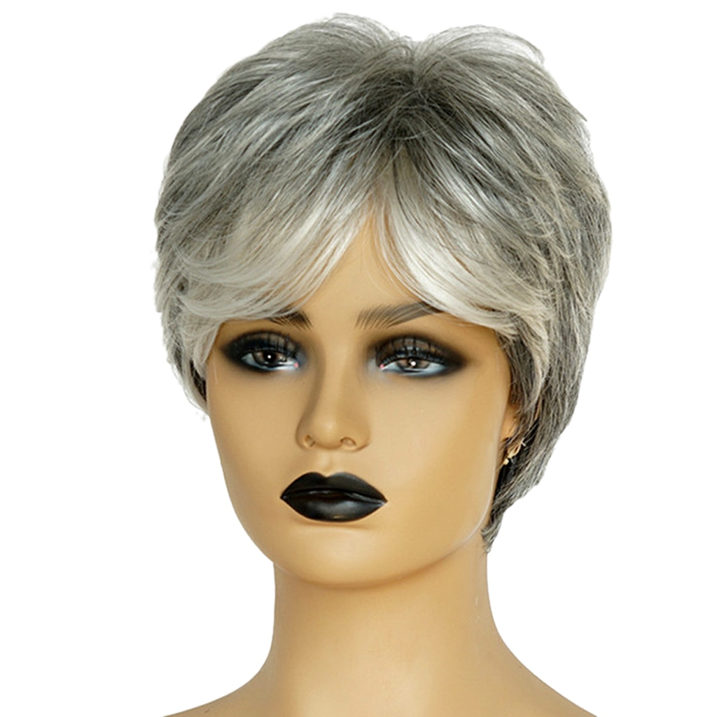 Short Straight Pixie Cut Wigs Natrual Looking Wigs for Women with Side Bangs Smooth Human Hair Wig with Wigs Cap and Comb Clips