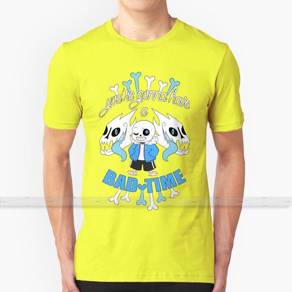 Mal momento, T - Shirt de los hombres de la mujer verano 100% camisetas de algodón parte de arriba nueva Popular T camisas Undertale Sans mal momento vas a cachear corazón