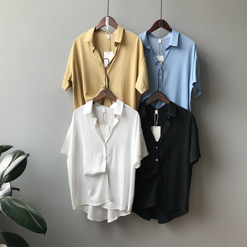 CMAZ Fashion Women Chiffon Blouse Summer Shirt Short Sleeve Blouses White Tops V Neck Korean Style