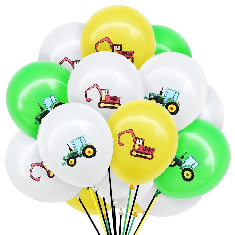 10Pcs Bau Fahrzeug Bagger Latex Luftballons Geburtstag Party Weihnachten Neue Jahr Dekorationen Kinder Spielzeug für Kinder Spaß