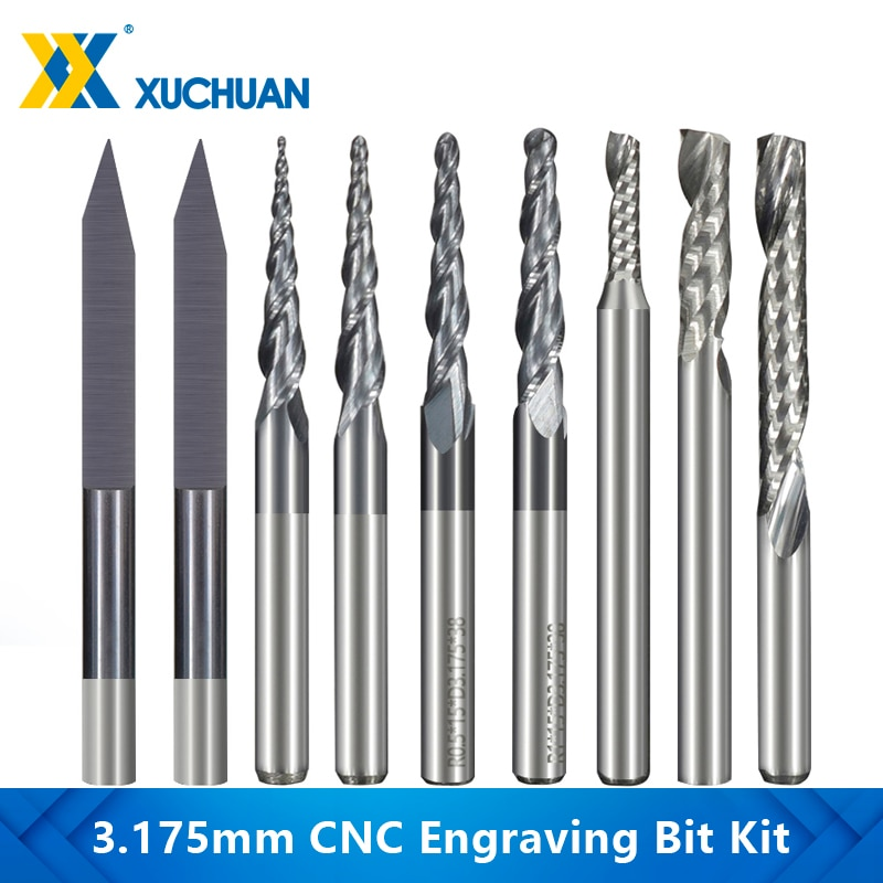 Milling Cutter 10pcs 3.175mm Shank Solid Carbide Engraving Bits CNC Router Bits for Carving Carbide End Mill 20pcs roland lettering knife blade plotter cutter vinyl cutting carbide 30 45 60degree end mill carbide carbide milling bits