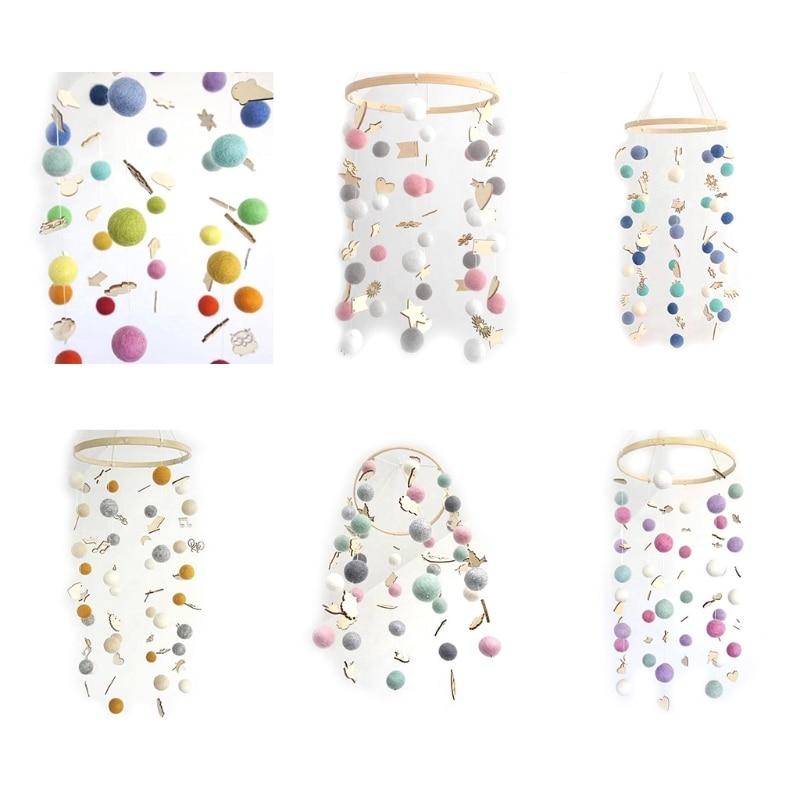 Фото - New Round Rainbow Hair Ball Wind Chimes Bed Bell Home Children Room Decoration Hanging Decor 3 pieces wind chimes feng shui wind bell lucky wind chimes bell vintage dragon and fish feng shui hanging chime for good luck