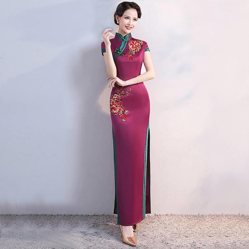 S-4XL حفلة غراين شيونغسام خمر النمط الصيني الربيع فستان سهرة طويل الشرقية امرأة أنيقة تشيباو Vestido حجم كبير