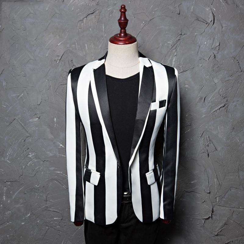 جديد المد الرجال زيبرا الشريط السترة الذكور مرحلة ارتداء Masculino يتأهل الأزياء عارضة 2 الدعاوى (سترة + السراويل)