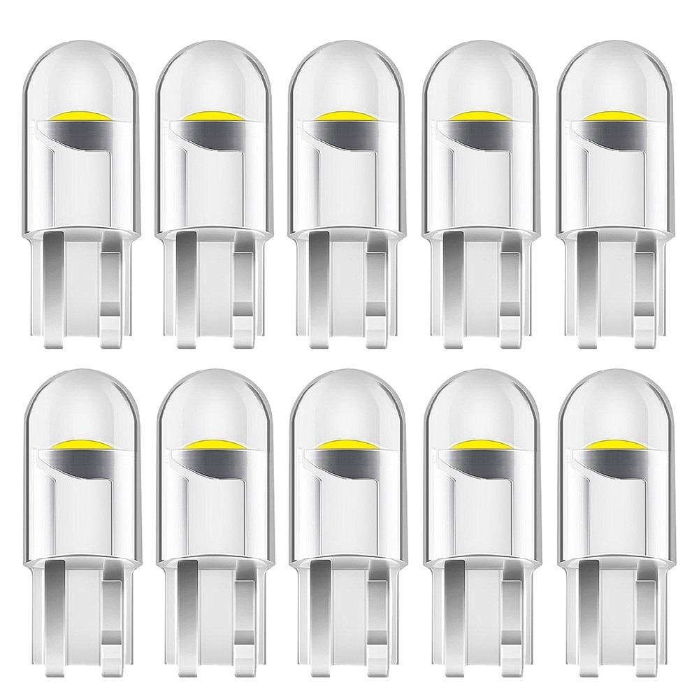 10PCS New T10 W5W COB LED Car Wedge Parking Light Side Door Bulb Instrument Lamp Auto License Plate Lights car led light Clear
