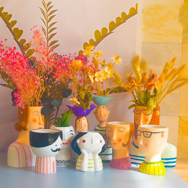Modern Creative Human Head Vase Simulation Flower Dried Decoration Ceramic Home Storage Crafts