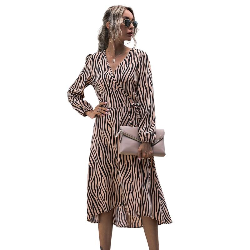 Women Zebra Pattern Sexy V Neck Long Sleeves Dress Autumn Summer Beach Female Elegant Midi Skirt Party Sundress BX0A