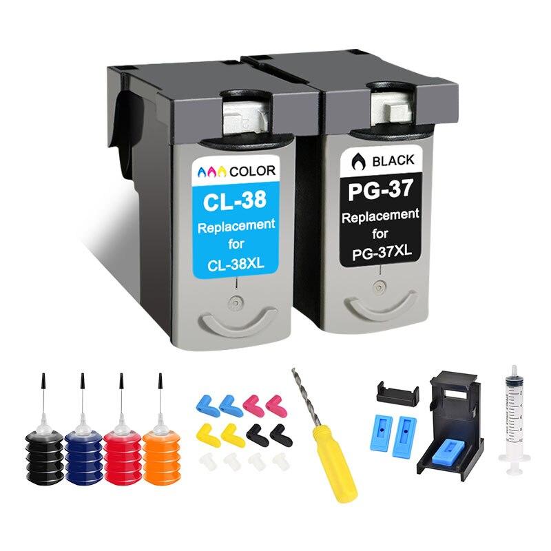 جديد لكانون PG37 CL38 PG 37 CL 38 PIXMA MP140 MP190 MP210 MP220 MP420 IP1800 IP2600 MX300 MX310 خراطيش طابعة كيت أداة