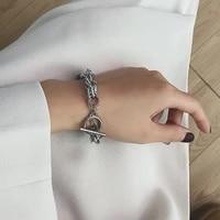fashion bracelet hip hop jewelry simple ot buckle personality stainless steel ingot chain elegant charm bracelet for woman
