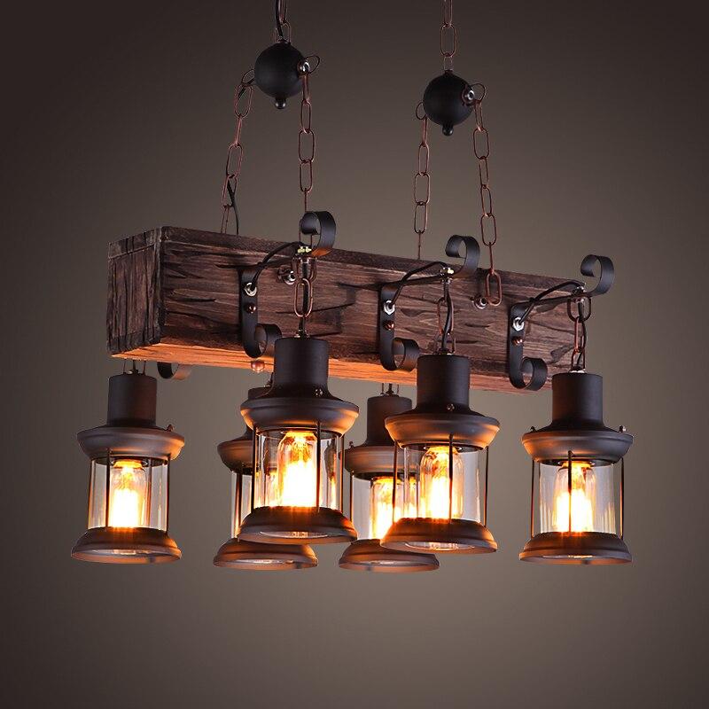 Lámpara de luz Vintage para Loft lámpara colgante de hierro forjado con...