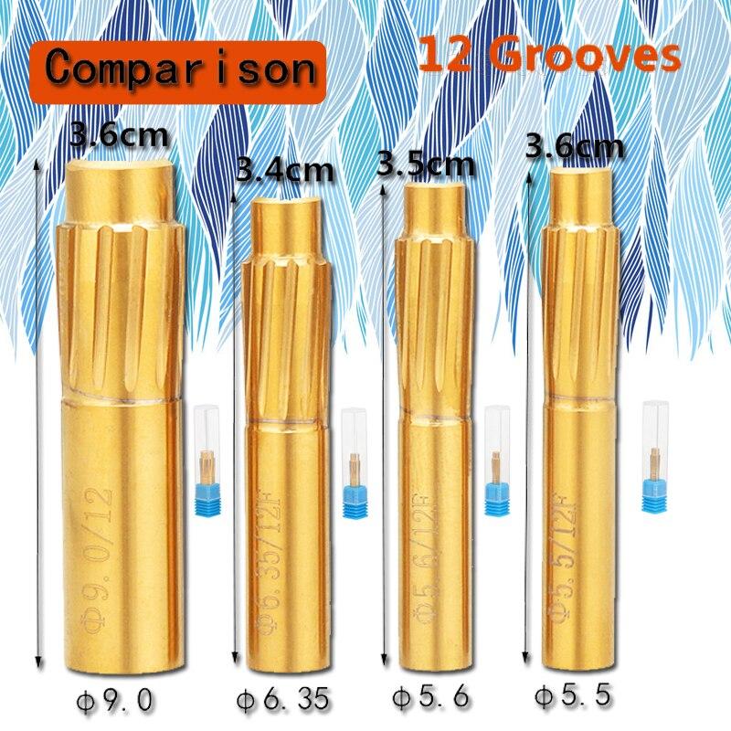 12 flautas que rifling botão 5.5mm 5.6mm 6.35mm 9.0mm câmara de liga dura máquina helicoidal reamer quebrar acessórios de ferramenta duráveis