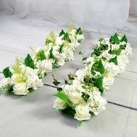 luxury wedding road cited flowers silk rose peony hydrangea diy arched door flower row window t station wedding decoration 50cm