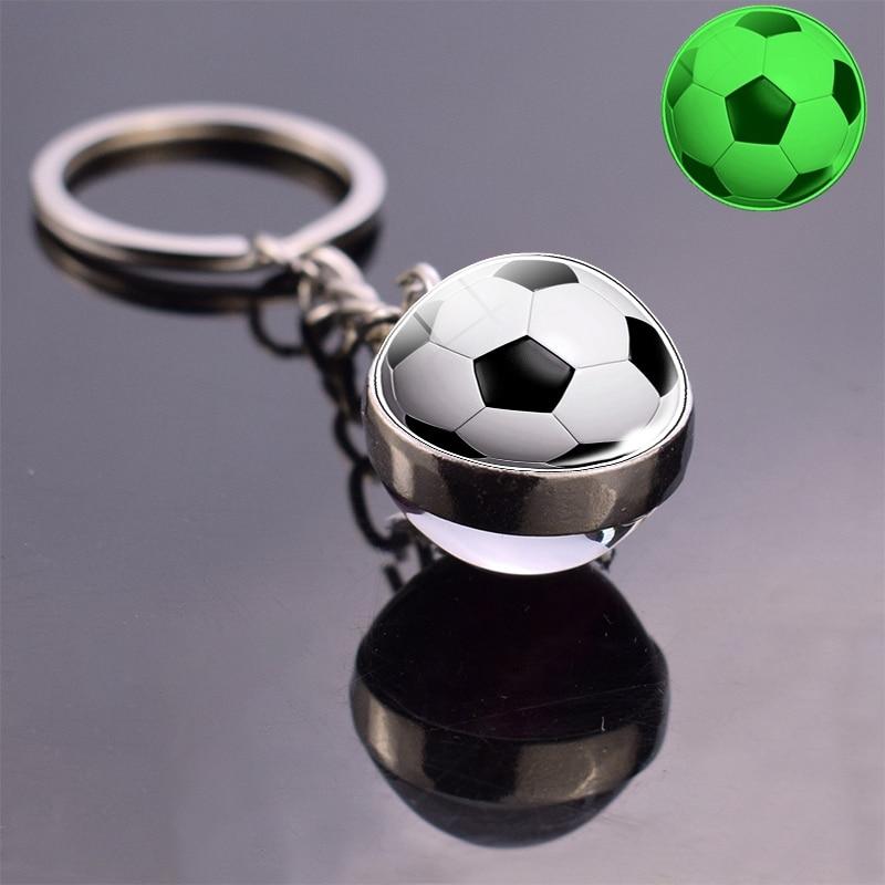 Футбольный стеклянный шар брелок светится в темноте футбол, баскетбол, бейсбол, волейбол, теннис, регби, Софтбол, светящийся стеклянный брелок