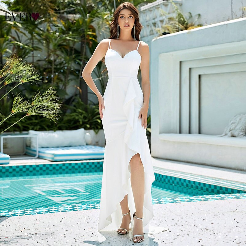 White Evening Dresses Ever Pretty Mermaid V Neck Spaghetti Straps Elegant Dress Women For Wedding Party With Split Robe Longue