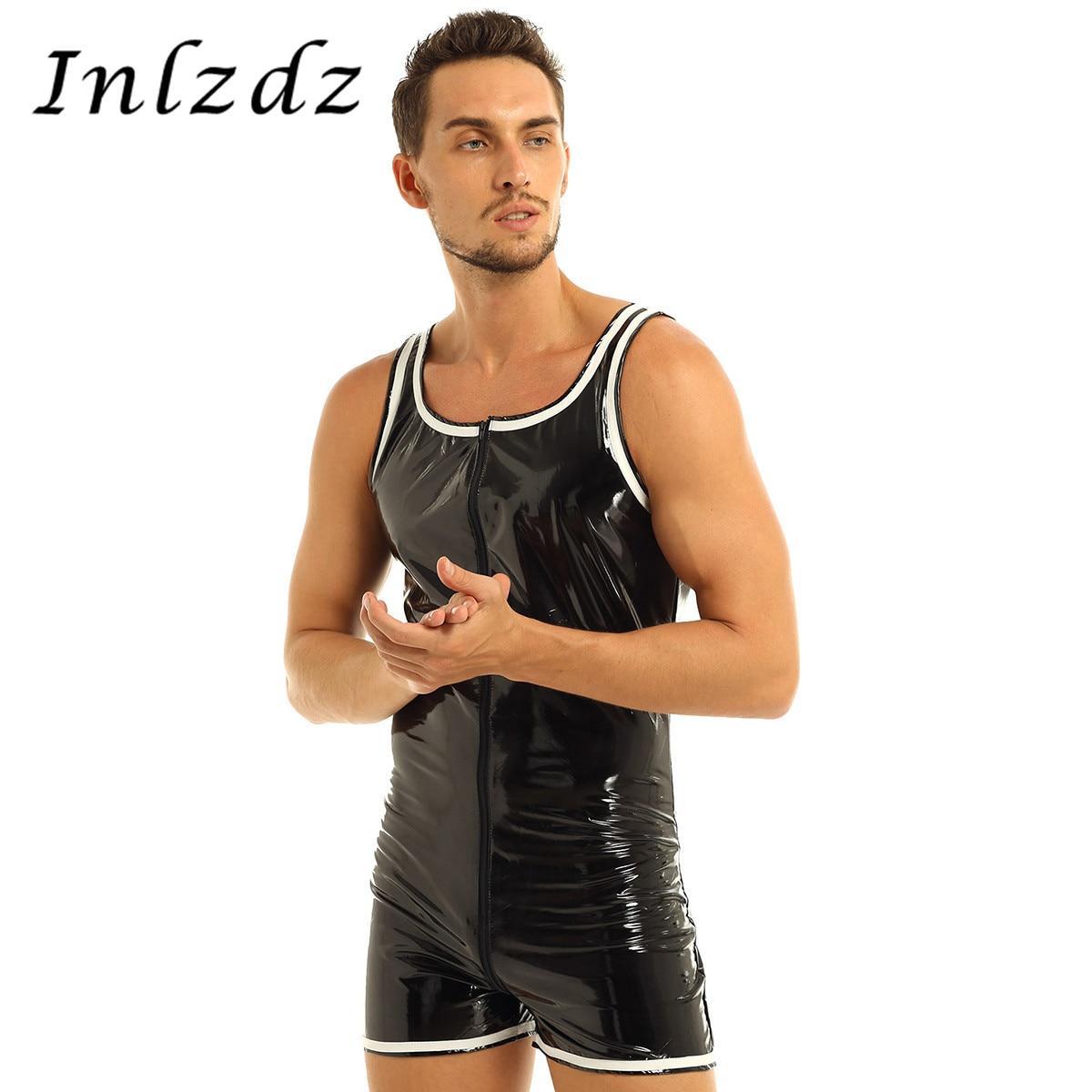 Lencería de látex para hombre, Bodi con aspecto húmedo de charol exótico, traje sexual con cremallera frontal, calzoncillos, leotardo, Mono