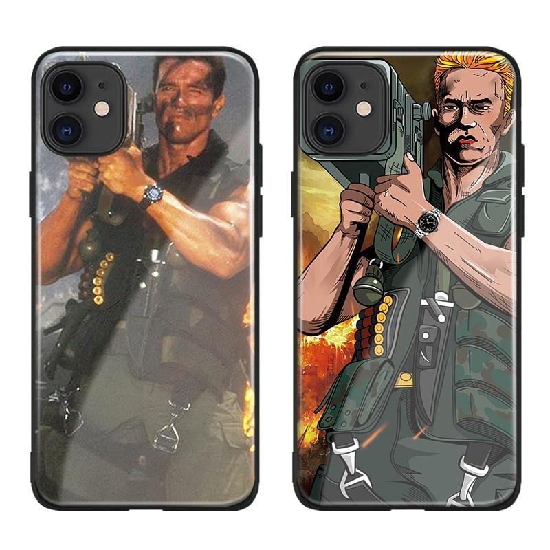 Para apple iphone 11 pro max commando 1985 filme arnold schwarzenegger silicone macio caso do telefone de vidro capa escudo