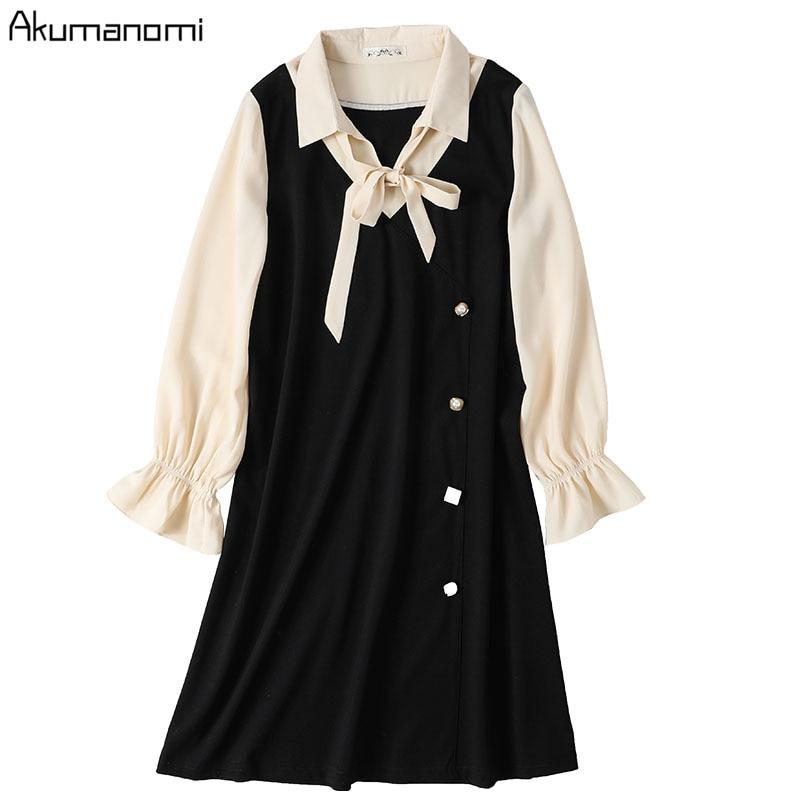 Vestido negro de retazos con cuello de talla grande 5xl 4xl Xxxl arco de manga larga Casual de fiesta de oficina vestido de mujer traje caliente mujer Ete 2020