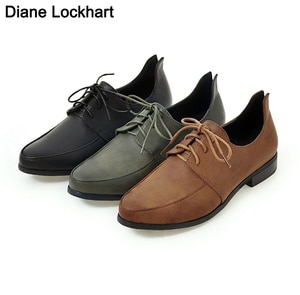 Women Oxfords Spring Autumn Flat Shoes For Woman Casual Flats Ladies Lace Up Loafers Derby Shoe Chaussure Femme Brogues Green 43