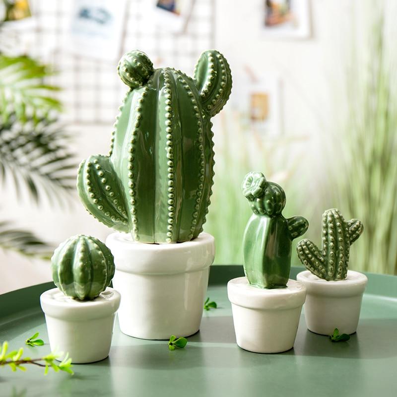 Conjunto de plantas en maceta de Cactus de cerámica, decoración creativa para el hogar, café, restaurante, adornos para el salón, decoración de boda, regalo de Navidad