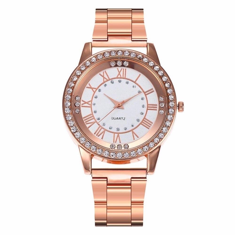 Vansvar Marca Subiu Relógio De Ouro Mulheres De Luxo Vestido de Strass Relógio de Quartzo Mulheres Casuais relógios de Pulso de Aço Inoxidável Relógio Feminino