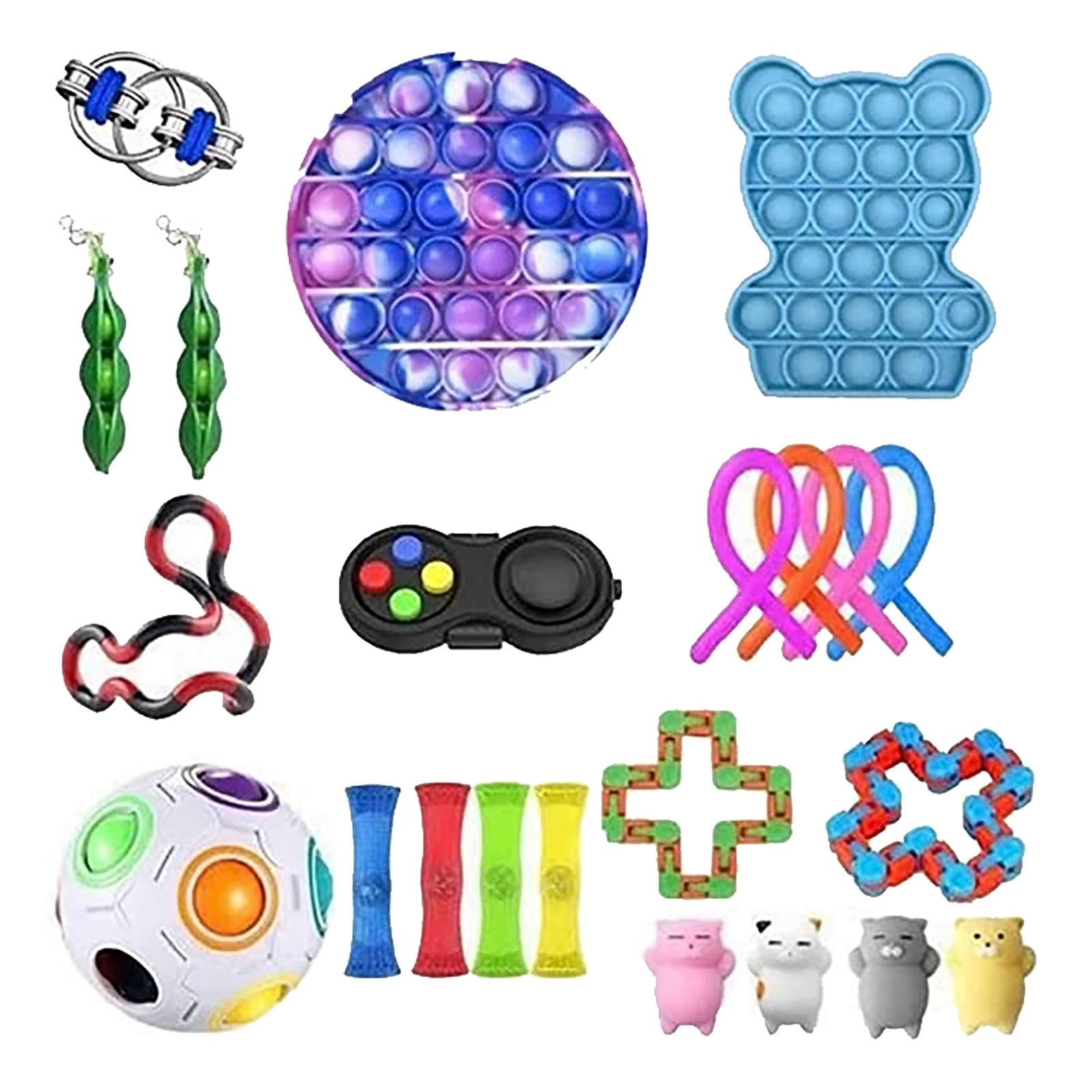 Fidget Toys Anti Stress Toy Set Stretchy Strings Mesh Marble Relief Gift For Children Adults Girl Sensory Antistress Relief Toys