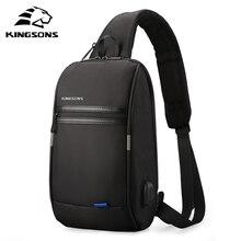 Kingsons Men Anti-theft Crossbody Bags Male Waterproof USB Charging Chest Pack Short Trip Messenger