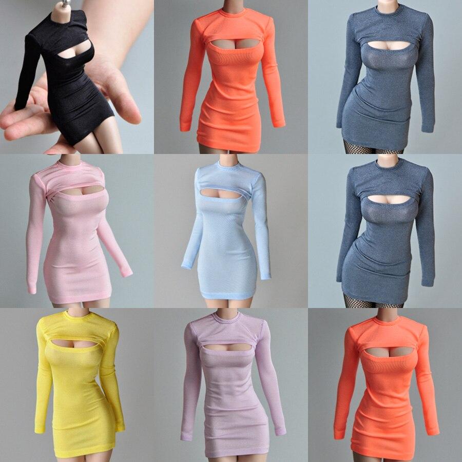 В наличии 1/6, Женская кукольная модель, одежда, аксессуары, 12 дюймов, боди, можно использовать, Открытая грудь, футболка, длинное приталенное ...