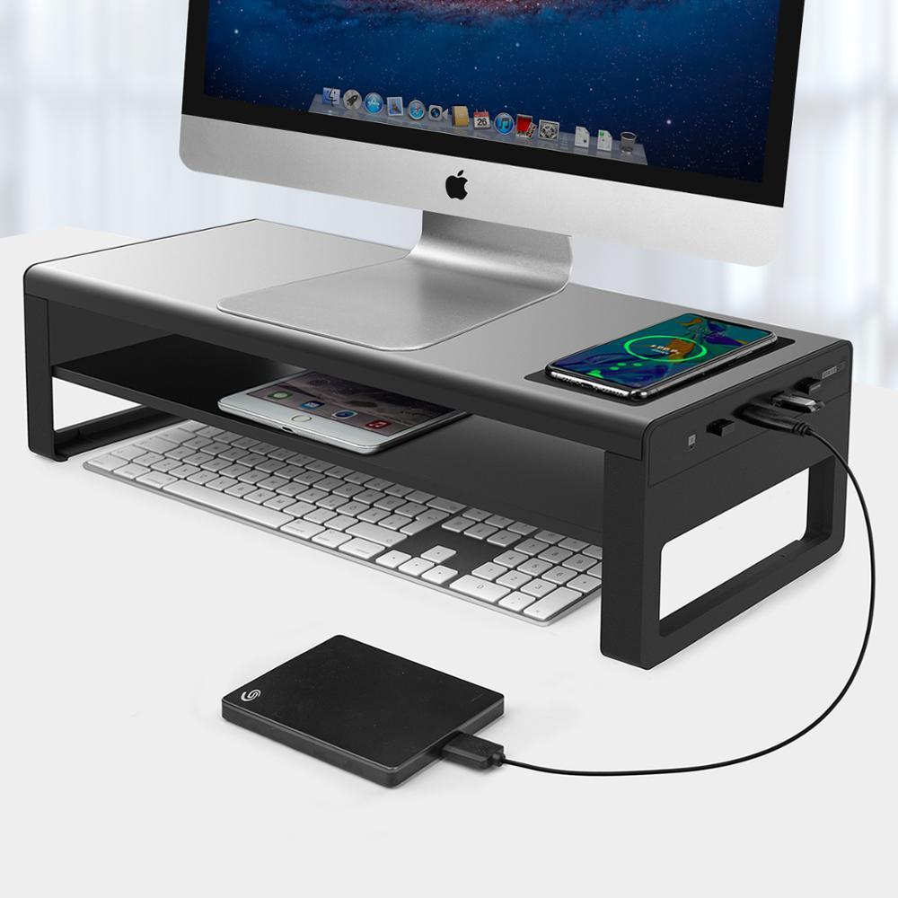 جديد vayالغزلان 2 طبقات حامل شاشة الألومنيوم مع الشحن اللاسلكي و 4 منافذ USB 3.0 محاور دعم حامل شاشة نقل البيانات