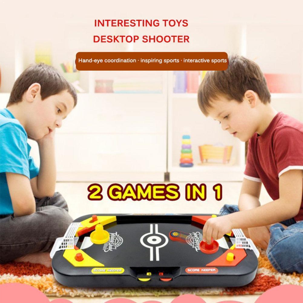 Nouveau Mini Air Hockey jouet Puzzle Mini jeu de société football 1 2 table Parent-enfant interactif dans le Hockey multijoueur Z4V7
