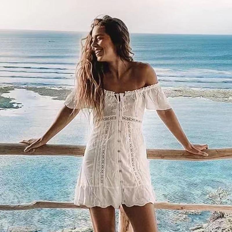 Foridol Off Shoulder White Embriodery Dress Summer Women Crochet Lace Up Beach Dress Button Flare Sleeve Cotton Dress Vestidos