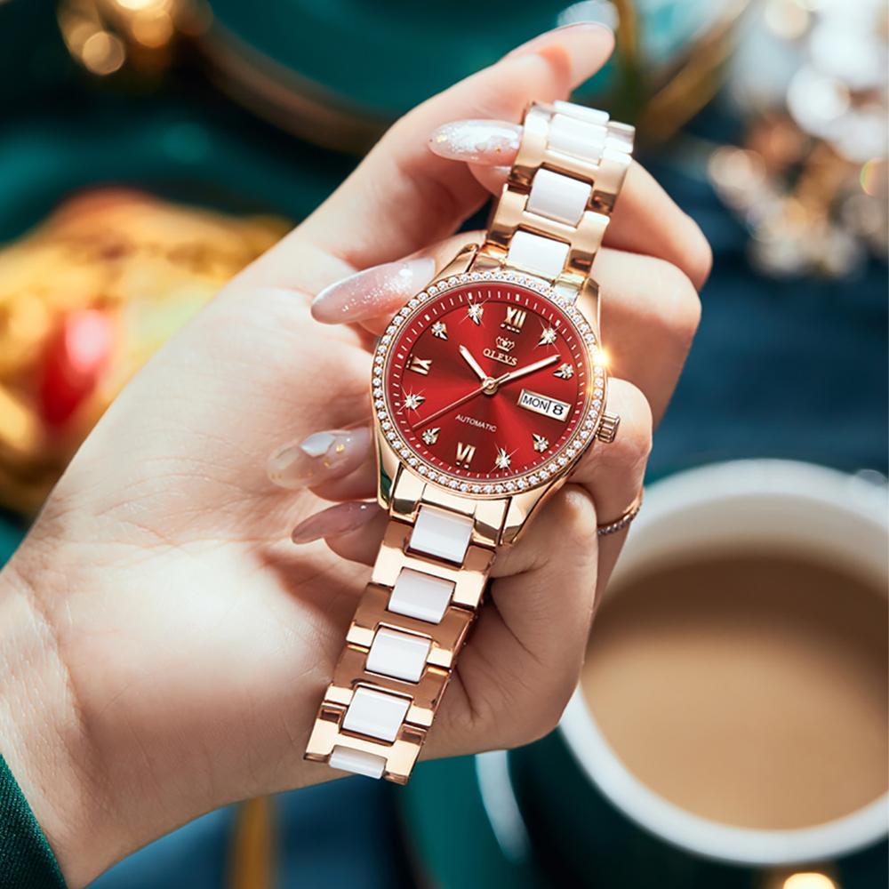 Women's automatic mechanical wristwatch luxury brand tungsten steel watchband waterproof individual luminous hands female clock enlarge