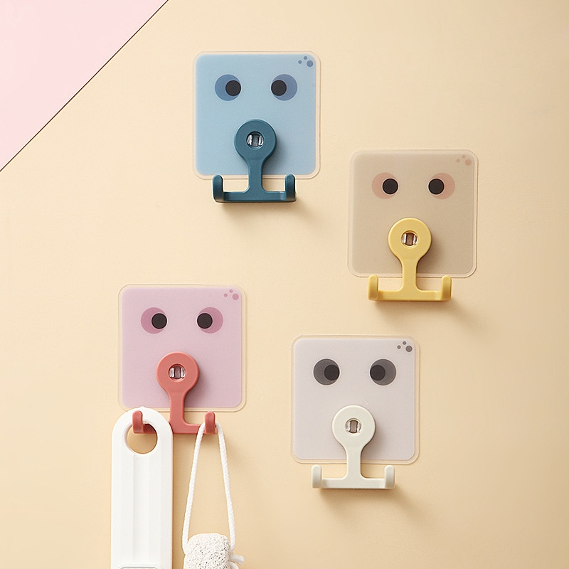 360 Rotating Rotatable double-head Hook Creative Viscose Seamless Hook Free Punch Double-Head Hook Kitchen Bathroom Storage punch free mop double buckle creative non trace bathroom stick double buckle broom double buckle