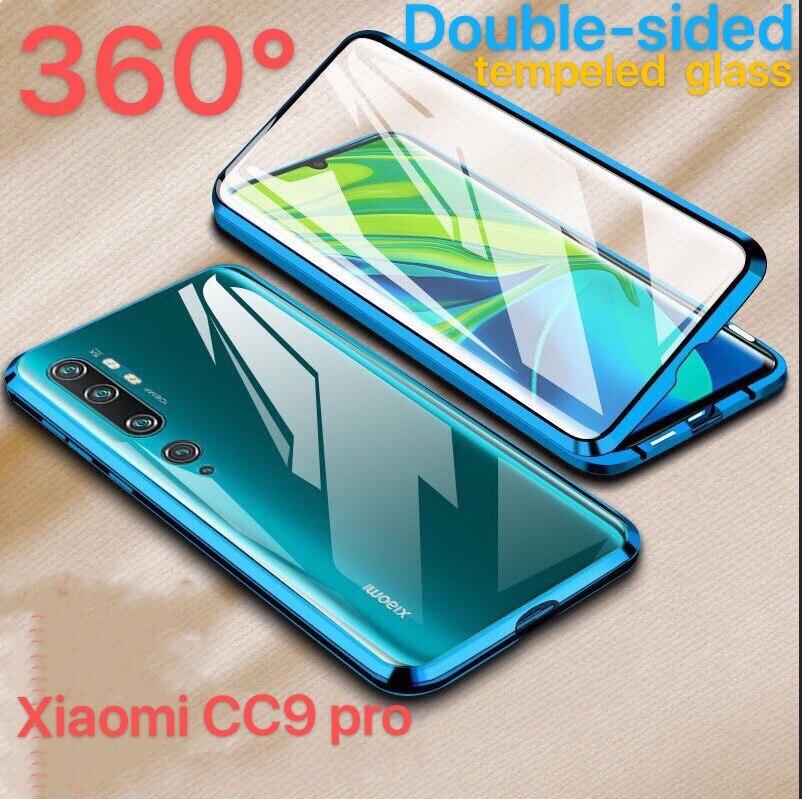 Doble Lado de 360 grados de adsorción magnética de Metal de vidrio para Xiaomi mi CC 9 9E 9T rojo mi Note 7 K20 Pro CC9 funda de teléfono